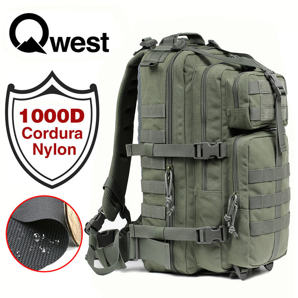 Qwest 30L Outdoor Tactical Military Style Gear Pack Backpack, Drab Green (CL_CRS806002) - Alt Image 1