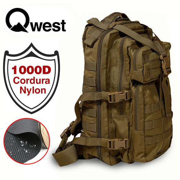 Qwest 30L Outdoor Tactical Military Style Gear Pack Backpack, Brown (CL_CRS806003) - Alt Image 1