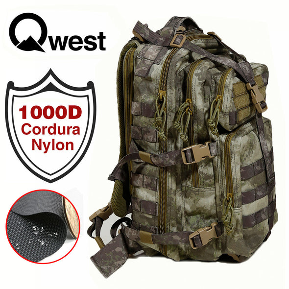 Qwest 30L Outdoor Tactical Military Style Gear Pack Backpack, A-Tac Cammo (CL_CRS806004) - Alt Image 1