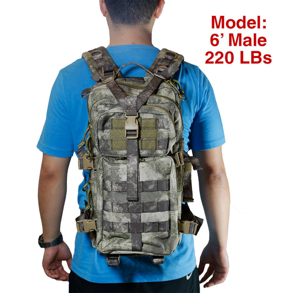 Qwest 30L Outdoor Tactical Military Style Gear Pack Backpack, A-Tac Cammo (CL_CRS806004) - Alt Image 4