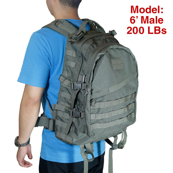 Qwest 42L Outdoor Tactical Military Style Gear Pack Backpack + Bonus 10 L Bag, Drab Green (CL_CRS806006) - Alt Image 4