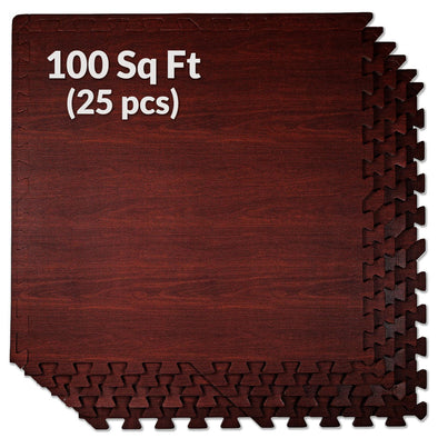 Home Aesthetics Dark Wood Grain Interlocking EVA Foam Floor Mats (100 Sq. Ft. - 25 pcs) (CL_HOM804910) - Main Image