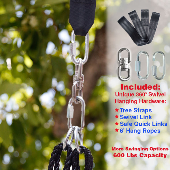 "Clevr 40"" Tire Web Swing 71"" Nylon Rope Upgraded with Swivel Hanging Hardware (CL_CRS805803-upgraded) - Alt Image 4"