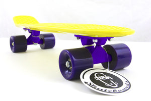 "[product_tag] , Fish Skateboard Yellow 22"" Urban Retro Cruiser Purple Wheel / Purple Truck - Crosslinks"