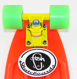 "[product_tag] , Fish Skateboard Orange 22"" Urban Retro Cruiser Green Wheel / Yellow Truck - Crosslinks"