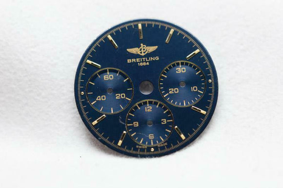 Breitling Chronograph Blue & Gold Markers Wristwatch Dial  Cal 11 - 26.5mm NOS