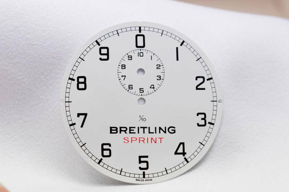 Genuine Breitling Sprint Stopwatch Dial White 1/10th  44.8mm- New Old Stock