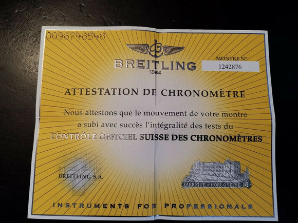 Breitling Chronometer Certificate Number 1242876