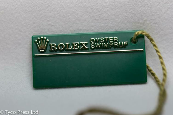 Rolex Green Oyster Swimpruf Swing Tag - Serial T687624 - 1996