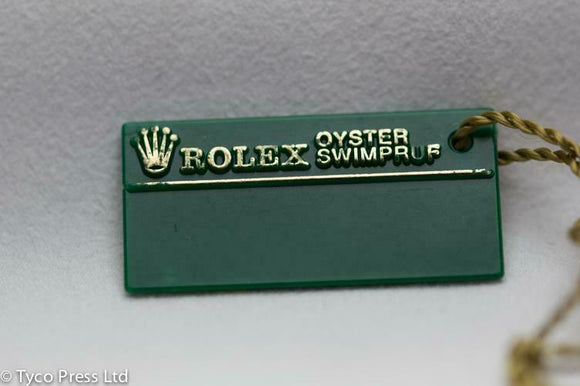 Rolex Green Oyster Swimpruf Swing Tag - Serial R230287 - 1987 / 1988