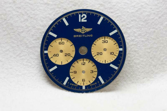 Breitling Chronograph Blue & Gold Wristwatch Dial - 26.5mm  Cal 11 / 1873 NOS