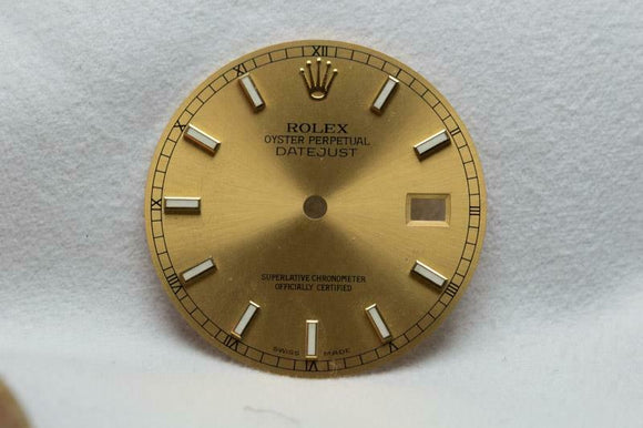 Rolex Gents Datejust Dial - Gold With Luminous Markers 27.8mm