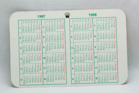Genuine Rolex Calendar Card 1997 - 1998
