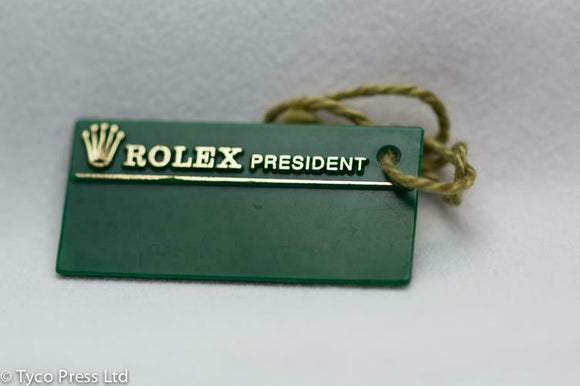 Rolex Green President Swing Tag W Serial 1995