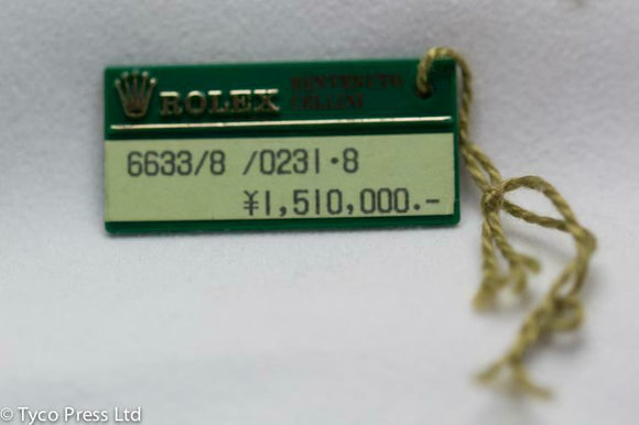 Rolex Green Benvenuto Cellini Swing Tag - X Serial - 1991