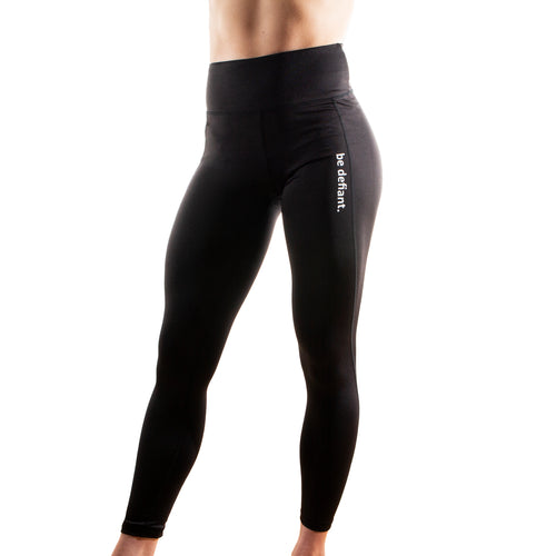 Front VIew of Black Women's Performance Leggings from Be Defiant