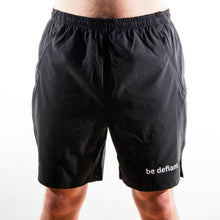 Load image into Gallery viewer, Be Defiant Black Men's Performance Shorts Front