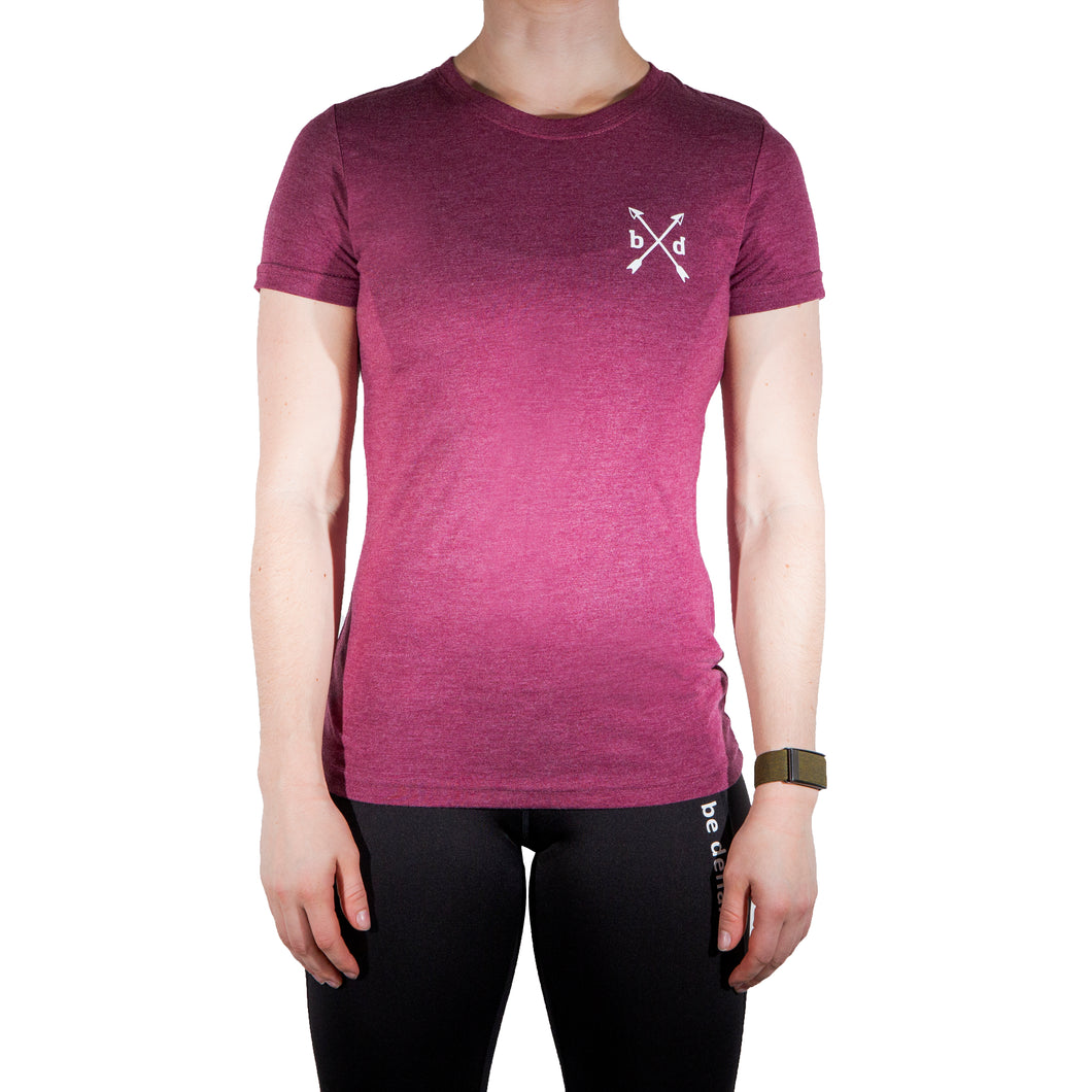 Ladies Maroon Premium Workout T-Shirt