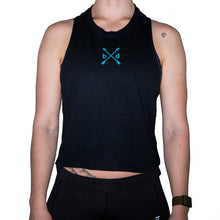 Load image into Gallery viewer, Ladies Arrows Cropped Tank Teal