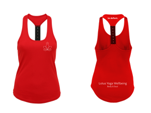 Lotus Yoga Red Strap Back Vest