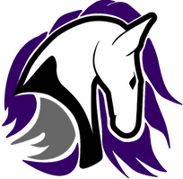 White Horse head with Purple and Grey Outline Leeds Chargers Logo