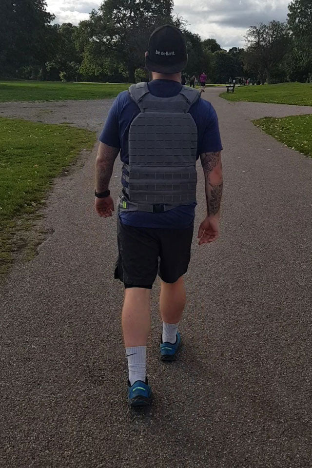 Man Wearing a Weighted Vest To Run In
