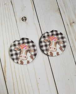 Car Coasters - Girly Cow
