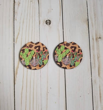 Load image into Gallery viewer, Car Coasters - Leopard Cactus