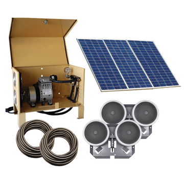 Deep Water Solar Aeration Complete System - Up to 1.5 acres - Two QS2 diffusers and 200' Quick Sink tubing - Enterprise Aquatics