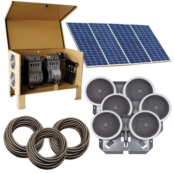 Deep Water Solar Aeration Complete System - Up to 2.5 acres - Three QS2 diffusers and 300' Quick Sink tubing - Enterprise Aquatics