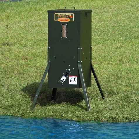 Texas Hunter - LM135AL Fish Feeder w/Solar Charger (Adjustable Legs) - Enterprise Aquatics