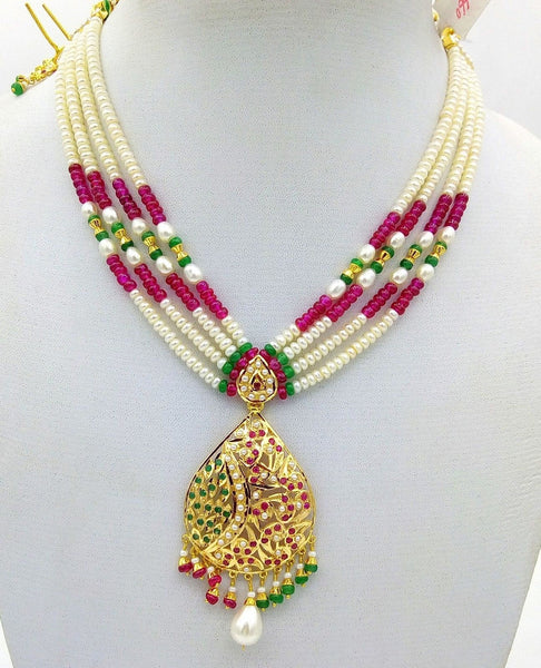 Punjabi jewellery 22k 22ct necklace traditional pearl ruby emerald