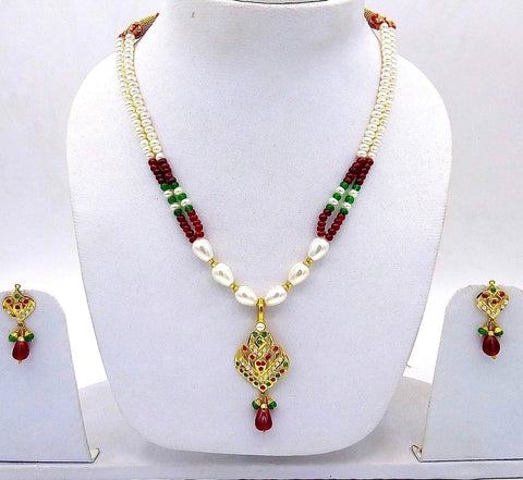 Bridal yellow gold 22k necklace india punjabi design pearl ruby emerald indian bollywood with Earrings