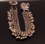 Silver old earring with fabulous chain jingle bells beautiful hand crafted stud link with hair clips gorgeous rajasthan tribal jewelry ose02
