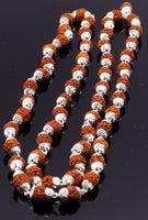 Handmade silver caps natural rudraksha bead chain necklace fabulous unisex silver jewelry awesome design