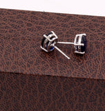 sterling silver handmade sapphire color stone excellent stud unisex new fancy stylish men's women's earring stud jewelry ! s-45