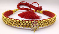 Vintage 22karat yellow gold handmade beads or ball studded fabulous necklace rajasthan tribal jewelry for women's gifting