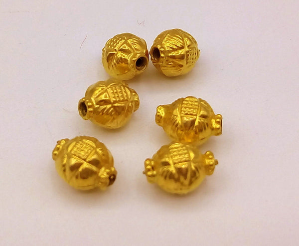 Vintage antique handmade loose beads traditional designer 22k yellow gold 6 beads or ball for custom jewelry making