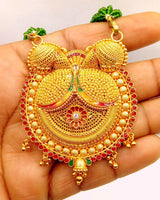 Vintage antique handmade 22k yellow gold filigree work fabulous pendant necklace with awesome meenakari (color enamel ) design mangalsutra