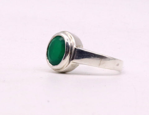 Fabulous green stone Solid silver handmade ring band with gorgeous unisex ring from india sr-59