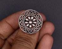 Vintage handmade silver adjustable round ring fabulous tribal ethnic belly dance women's jewelry  !!sr18