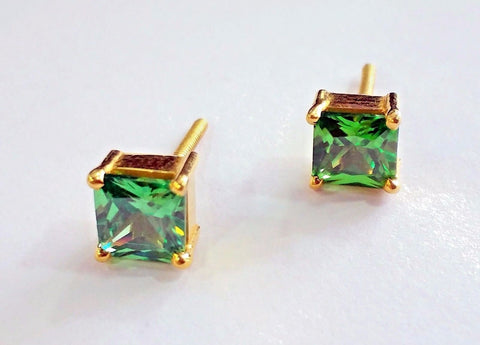 Handmade fabulous green square cubic zircon stone 22karat yellow gold stud earring pair for boys/girls