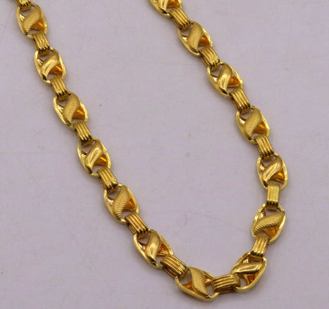 20 inches 22 karat gold Vintage handmade engraved fabulous lotus chain necklace men's women's jewelry from Rajasthan India
