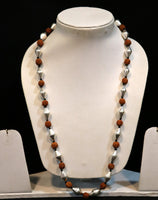 Traditional design natural rudraksha beads and silver beads vintage necklace chain tribal belly dance jewelry !!src-02