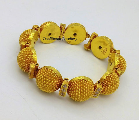 22k yellow gold handmade Top class rajasthani bangle bracelet Gajara traditional wedding anniversary party belly dance jewelry g03