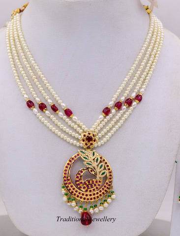 Vintage handmade punjabi muslim fabulous peacock designer necklace set with ruby pearl emerald color stone