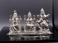 Vintage handmade silver Indian goddess Laxmi, Saraswati Ganesha figurine statue art for puja, puja article, silver utensils, silver art