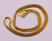 22inches handmade double box chain 22karat yellow gold necklace fabulous solid vintage unisex handcrafted chain necklace from india ch177