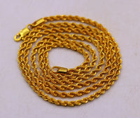 24 inches Handmade Genuine 22karat yellow gold gorgeous rope design stylish chian gifting jewelry from india ch175