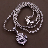Handmade solid silver indian idol lord ganesha pendant with excellent necklace chain link chain indian tribal jewelry nsp20